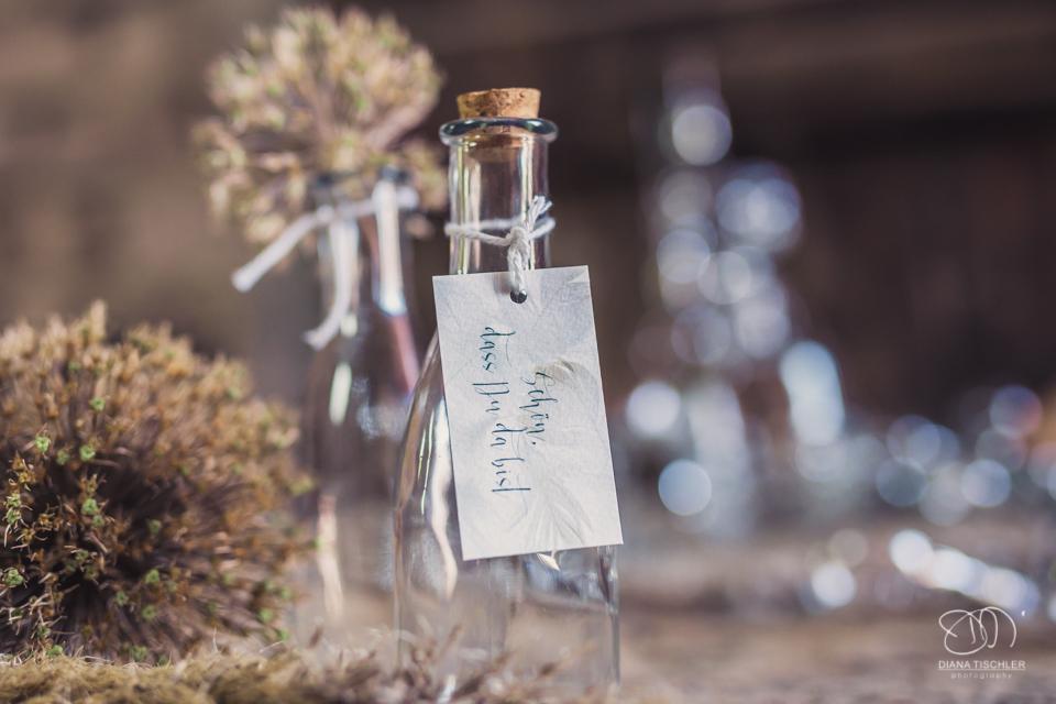 Papeterie Save the date und Buffet mit getrockneten Blumen und Flaschen fuer eine Hochzeit in einer Scheune