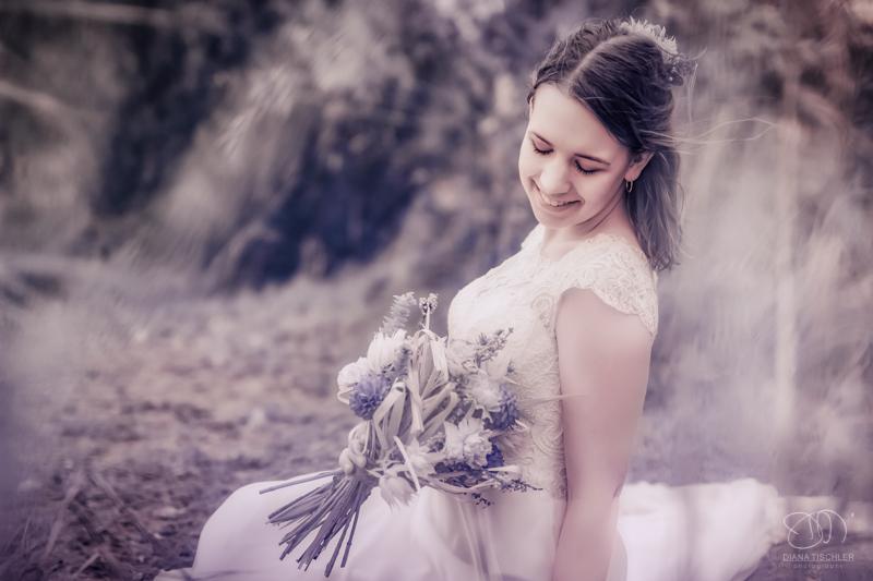 Infrarot Foto Hochzeit Braut mit Brautstrauss