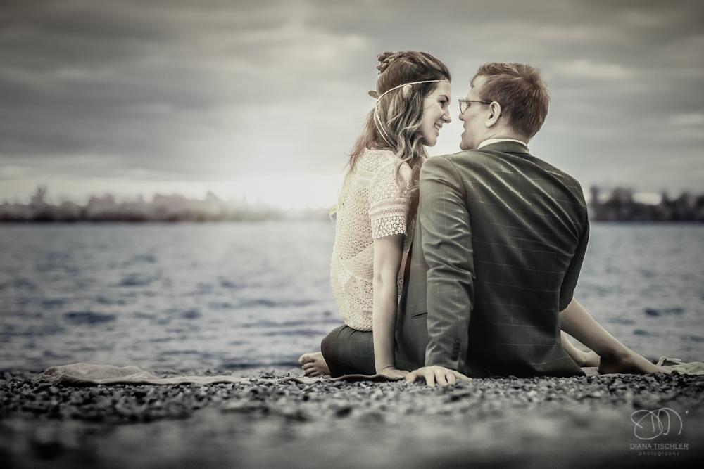 Infrarot Foto Hochzeit Brautpaar am Strand