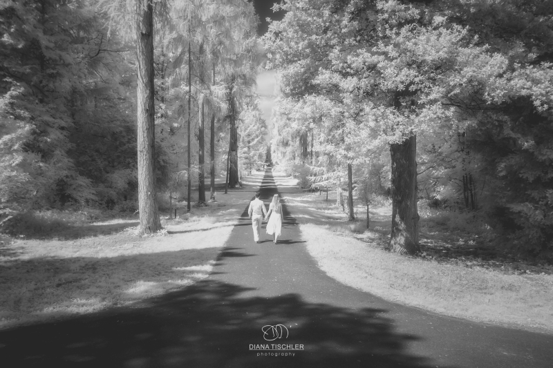 Infrarot Foto Hochzeit Brautpaar auf Weg im Wald