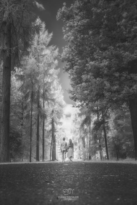 Infrarot Foto Hochzeit Brautpaar im Wald auf einem Weg