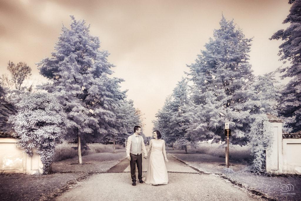 Infrarot Foto Hochzeit Brautpaar auf Weg schaut sich an